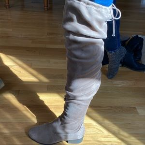 Tan Over-the-Knee Boots with Tie